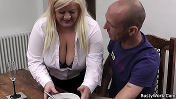 Boss fucks busty blonde on the table