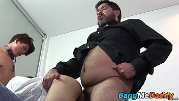 Hairy mature man has raw fucking threesome with twinks
