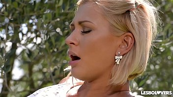 Lesbo Lovers Lucy Li & Tracy Lindsay Lick Their Tasty Pussies In The Garden