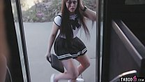 Schoolgirl pussy rammed in the bus drivers VR world