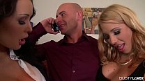 Busty Brunettes Patty Michova & Kyra Hot Fuck Their Boss' Face and Cock