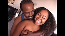 Young ebony Jessica Allbutt with a big butt gets pounded by black cock on the sofa