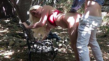 Horny blonde fucks in park - Erin Electra