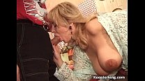 Slutty blonde MILF gets hairy pussy