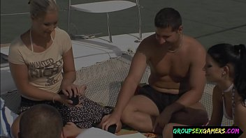 Amateur babes in group sucking dick on a boat