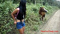 (Onlyfans.com/heatherdeep) peeing next to horse in jungle