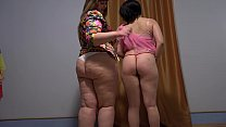 Licking hairy fat pussy and fragrant panties in a wet orgasm, fetish lesbians games.