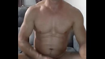 Straight muscled french guy masturbating and cumming