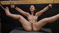 Slut whipped while trying to suck a dildo