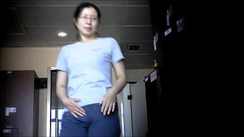 Asian Milf shows small tits ass and pussy in locker room