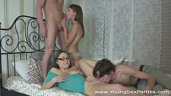 Girlfriends Tanielle and Macy fucked in a four-way
