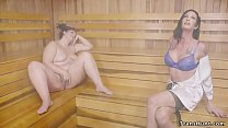 Fat babe gets banged by shemale in sauna