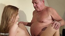 Old vs y. takes facial cumshot and swallows cum after having hardcore sex with old man because she was horny and her pussy wanted his dick