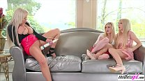 Horny stepmom squirts on her stepdaughters 6 min