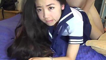 Chinese Schoolgirl Sucks and Fucks her Boyfriend