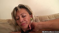 Old m.-inlaw spreads legs for him