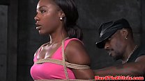 Breast bound ebony babe is restrained by dom