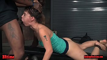 Cum smeared bdsm babe roughly fucked