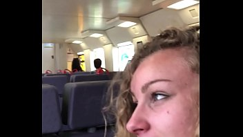 Angel Emily public blowjob in the train and cumswallowing !! 2 min