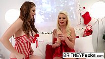 Two hot lesbians break in their sexy Christmas gifts