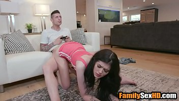 Bored sister fucks brother while he plays on xbox - fucked up family