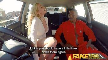 Fake Driving School Big black cock goes deep into Amber Jayne 12 min