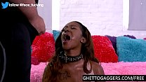 Ebony with big tits gags on man piss