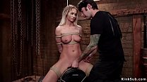 Tied gagged blonde made to ride Sybian