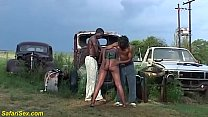 b. african outdoor threesome orgy