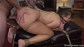 Mob anal fucks tied brunette beauty