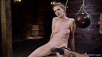 Naked brunette slave tormented on hogtie