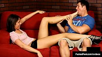 Brunette Newbie Ammie Gives Soleful Footjob With Toes & Peds