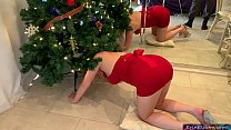 Stepmom gets stuck in the Christmas tree and fucked