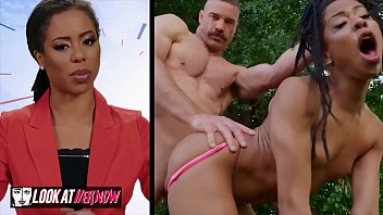 Small tit Ebony Kira Noir gets pounded outdoors - Look at her now