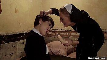 Brunette sister rimming lesbian nun 5 min