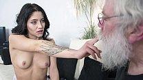 Grandpa sucks y. tits then gets a deepthroat blowjob