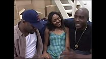 cute little ebony gets fucked by two dudes