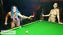 Two naked shameless sluts play billiards