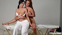 Busty lesbian masseuse Kira Queen has hot vibrator sex with Sheila Grant