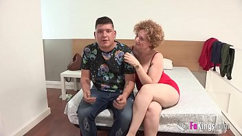 Mercé the BIG TITTED MILF is going to show shy Jose what fucking really is