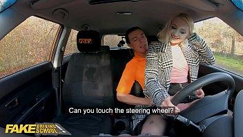Fake Driving School Blonde Marilyn Sugar in Black Stockings Sex in Car