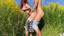 Sex with russian wife on the field with flowers. Public place   KleoModel