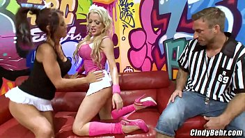 Cindy Behr and girlfriend takes turn fucking studs big cock