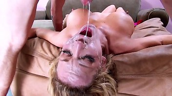 Throat Gagging! Big Tits & Face Fuck Cum Swallowing. On Her Knees and Upside Down Hard Deepthroat