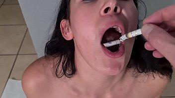 Human ashtray girl
