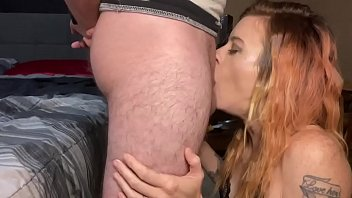 Cum shot to the face after a deepthroat amazing head