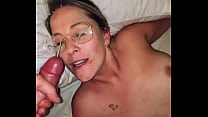 Amateur couple, blowjob with facial all over the specs