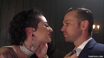 Busty femdom and partner fuck man