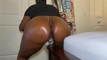 Big Oiled Ebony Ass Riding Dildo