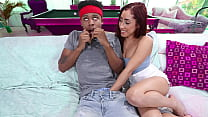 Horny stepsister wants her stepbro's big black cock in her mouth - teen porn